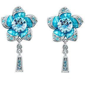 3c3c90febecb Záffira - Aretes Mujer Flor Con Cristales Swarovski - Azul