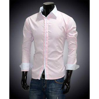 Casuales Slim De Hombres Fit Lujo Elegante Camisas De Manga Larga-Color De  Rosa c550c607a0972