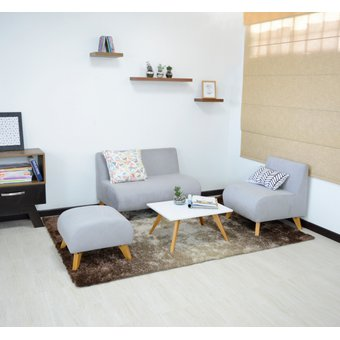Compra juego de sala nova en tela color plata online for Juego de muebles para sala modernos