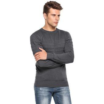 9fc7647ef3c Compra Suéter casual de manga larga Slim Fit para hombre - gris ...