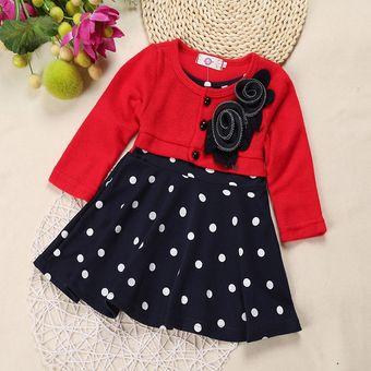 Vestido Casual Para Niña Y Bebés Manga Mediana Rojo