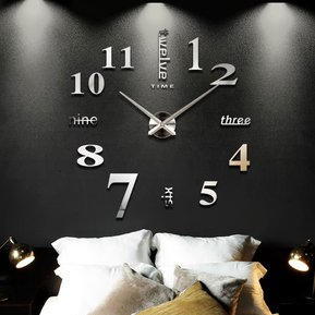 770a46fd0bc7 Reloj de Pared Grande con Diseño Moderno 3D-Negro