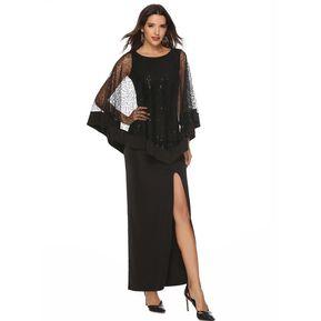 629dfa458 Lentejuelas de cintura alta vestido largo delgado vestido de fiesta negro