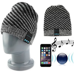 EY Bluetooth Wireless Music Gorro De Lana Con Auricular Estéreo Para  Móviles Negro Y Gris 7f313d574dd