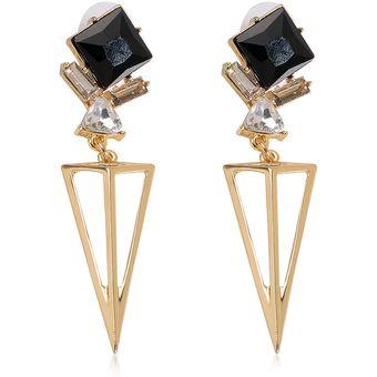 e5b3c0f2aae1 Pendientes De Las Mujeres Con Estilo De Oro Noble De Cristal Triangular  Pendiente Del Rhinestone Golden