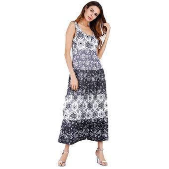 c3fc8fccb Moda Imprimir Vestido Falda Femenina Modelos De Verano Vestidos Mujer-Negro