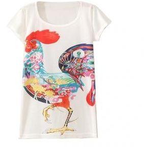 Camisa Estampada de Corte Largo para Mujeres-Multicolor 1934262d8442