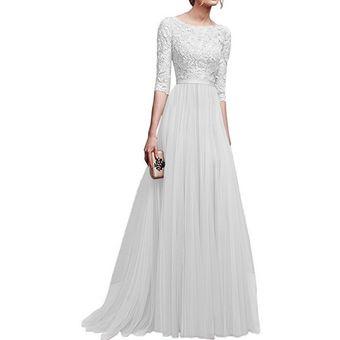 38359634 Compra Vestido Casual Generico Gasa Vestido Falda larga - blanco ...