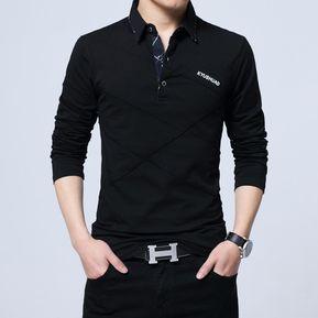 b7b446a74 Camisas De Polo De Manga Larga Casual Otoño Invierno Para Hombres