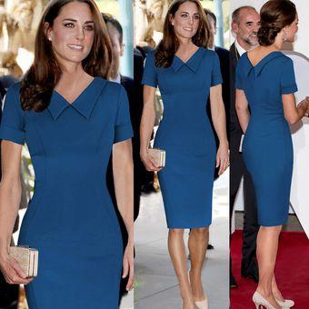 Temperamento Falda Vestidos Lápiz La Solapa De La Muñeca Vestidos De Trabajo Azul
