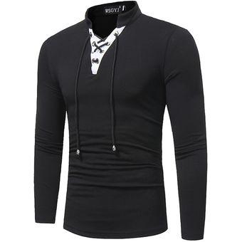 Compra Camiseta Manga Larga V-cuello Hombre-Negro online  e4d39a20dbdd3