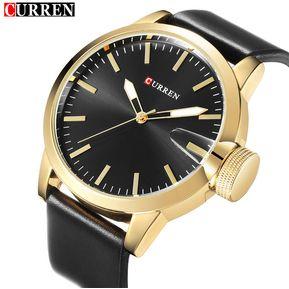 Nuevo Relojes CURREN 8208 Casuales Dial Grande Relojes Deportivos Para  Hombres -Negro Con Oro 95b9ce5d1659