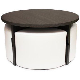 Compra mesa de centro con puff por 4 quesitos wuengue blanco online linio colombia - Mesa de centro con puff ...