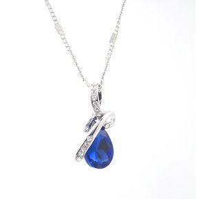 29f736f9cfd0 Moda Colgante Gota De Agua Collar De Cadena De Plata Azul Cristalino Del  Rhinestone para mujer