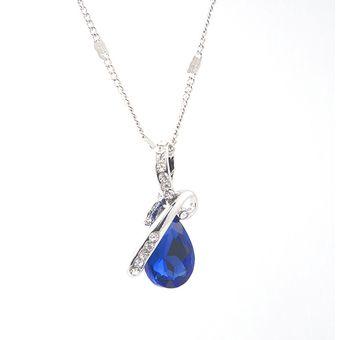 6440cf3ca40b Moda Colgante Gota De Agua Collar De Cadena De Plata Azul Cristalino Del  Rhinestone Para Mujer