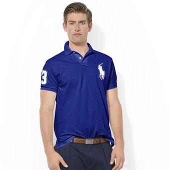 b9f34a8c5469ae Agotado Playera Polo By Ralph Lauren Custom Fit Color Azul Marino Con Blanco