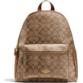 Mochila Coach Piel F38301 Charlie Backpack In Signature - Miel   Café 1d68b34e5d9
