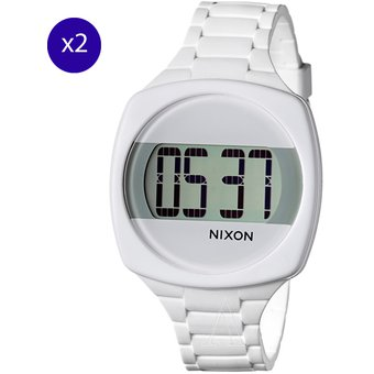 minorista online 6a78e 6a486 Pack x2 Reloj Digital Nixon The Dash Wash - Blanco (sin baterias)
