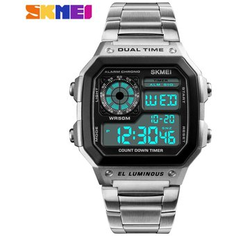c3b3e8c5db54 Agotado Hombre Skmei Dual Time Display LED Reloj Analógico Digital De  Cuarzo Relojes De Pulsera De Plata