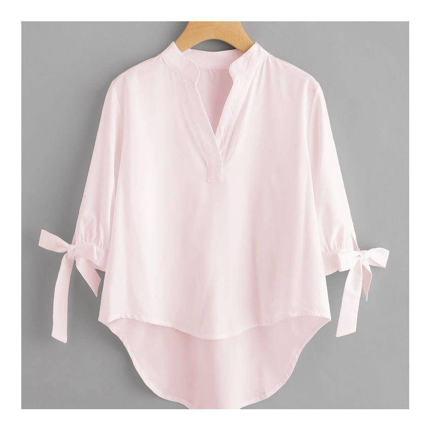 Corto V Cuello Camiseta Ab1sqwv Bowknot Blusa Largo Delante Mangas En Mujer Rosa Con Detrás qxIw4wT6