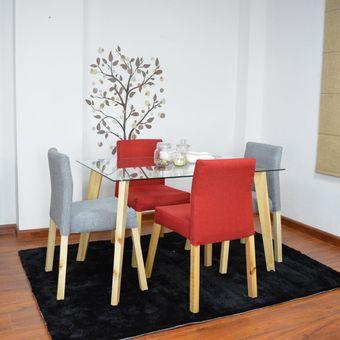 Comedor Madrid En Vidrio 4 Puestos + 4 Sillas Madrid En Tela Poliéster  Plata y Rojo