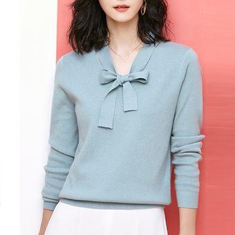 2c87fe9ab1 Compra Suéter Con Cintas En El Cuello V E-Thinker Para Mujer - Azul ...