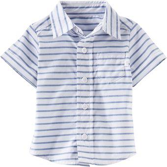 Compra OshKosh - Camisa manga corta para Bebé Niño - Blanco y Azul ... 9c8a0782b7213