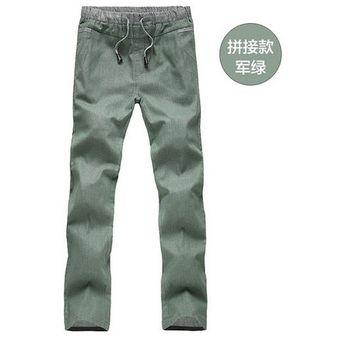 c621efa0d25 Pantalones Largas De Lino Para Hombres De Color Sólido Casual Flojas Pantalones  De Lino De Ocio