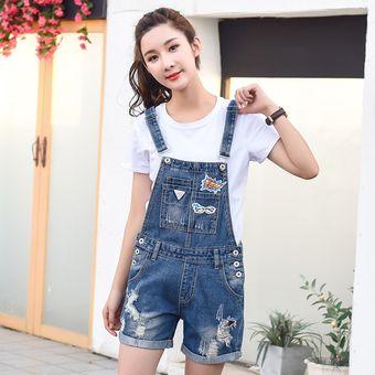 d1b8d9b6b monos de jeans rotos para mujer jeans de jumpsuit corto de mezclilla