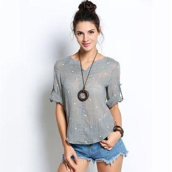 c8e865ac88662 Compra Camisa Blusa De Lino Suave Cómoda Para Mujer-Gris online ...