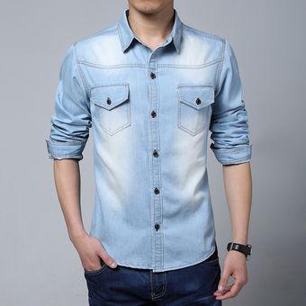 ac3764adda3 Tallas Grandes Hombres Diseñador Camisas de mezclilla Camisetas de manga  larga Camisas ocasionales-Azul