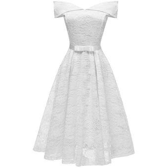 Vestido Casual Generico Fiesta De Encaje Vestidos De Verano Blanco
