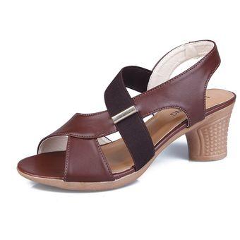 51729b37 Zapatos de tacón alto peep toe para mujer Sandalias Chunky Sandalias de
