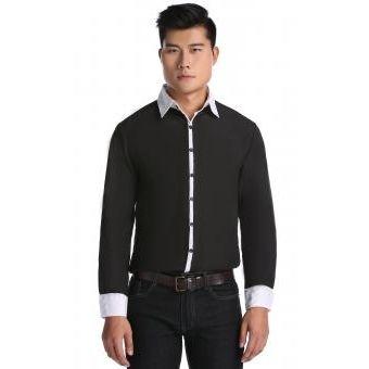 Larga Para Camisa Hombres Negro Manga 1cKTlFJ