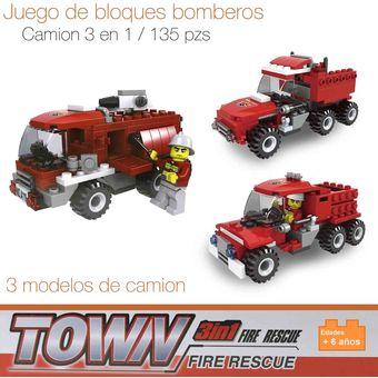 47e37c1388 Compra BLOQUES PARA ARMAR TIPO LEGO CAMION BOMBEROS JUEGO DIDÁCTICO ...