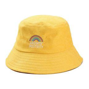 b6f902dc03439 ZAFUL-Sombrero de pescador de pana bordado arco iris-Amarillo