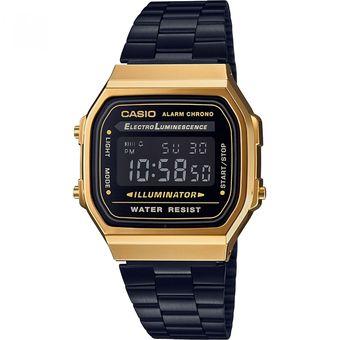 791055134408 Reloj Casio A-168WEGB-1B Unisex Pulso En Acero Inoxidable Tonos Negros