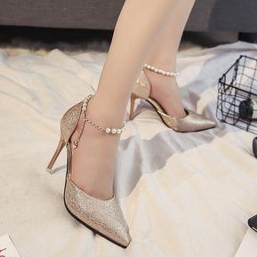 Zapatos dorados Tacón de cuña formales para mujer RJ2DWUq6