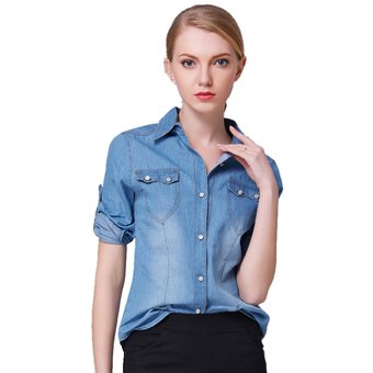 6b94f04ca19f5 Moda Mujer Denim Camisa Manga Larga Cuello Camisa Jeans Mujer Bajar Jean  Camisas Para Damas-
