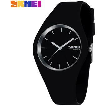 e9690b752bd4 Compra Reloj De Cuarzo Simple De Silicona Para Hombre Y Mujer-Negro ...