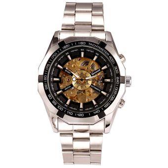 46dd69a62bd5 Reloj analógico mecánico reloj de pulsera hombres de negocios de aleación  casual ahuecar Yucheer para hombre
