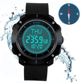 b00b6e4428e1 Contra Agua Relojes Compás Hombre Skmei Reloj Deportivo Digital LED Para  Montanismo (Azul)
