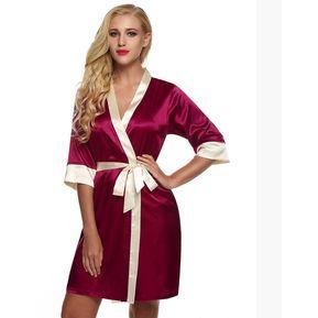 8b40b15783 Vestido De Pijama De Satén Encaje Para Mujer-Rojo Oscuro