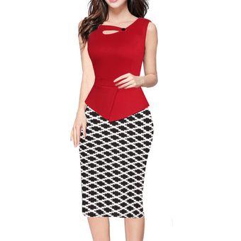 b66ab00ba Trabajo Vestido Impresión Dos Piezas Empalme Falda De Tubo Lápiz  Vestidos-Rojo Y Prism