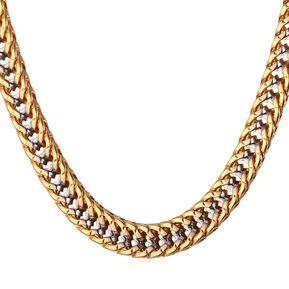 06d027a01a02 Agotado Cadena de eslabones de 2 tonos 5mm ancho chapado en oro y platino para  hombre