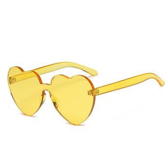7e8aee2dbe Forma De Corazon Rimless UV400 Gafas De Sol Para Mujer (Amarillo)