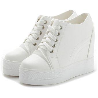 en venta sombras de último E-Thinker TENIS Zapatos De Deportes Ocio De Suela De Espesa De Mujer Para  Alto-Blanco