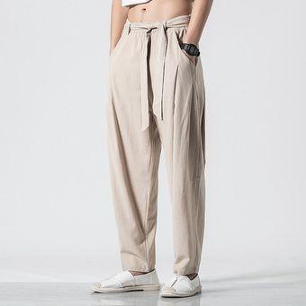 Pantalones Flojos Rectos De Lino Estilo Chino Retro De Verano Para Hombre Panta Khaki Linio Chile Ge018fa0m7809lacl