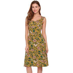 1304cf8863 Mujeres De Moda Slash Cuello Manga Corta Floral Alta Cintura Dress -Amarillo