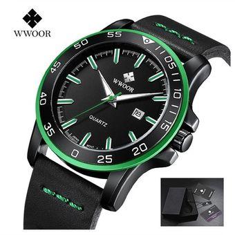 c7674c189525 Compra Reloj Para Hombre Correa De Cuero De Cuarzo-Verde online ...